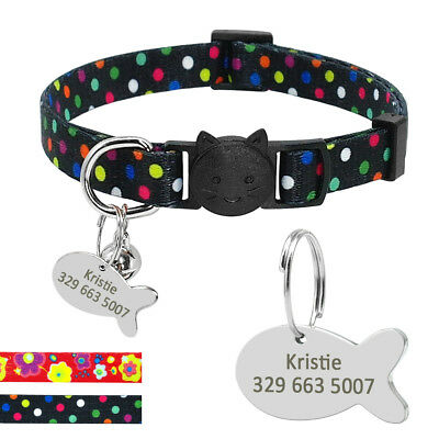 Adjustable Personalized Breakaway Cat Small Dog Collar With Fish ID Name Dog Tag