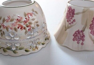 Home Interiors Ceramic Candle Shade Toppers Set Of 2