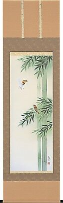 KAKEJIKU Japanese Hanging Scroll A-2763 Hagiwara Ryokusui Bamboo Sparrow JAPAN
