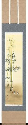 KAKEJIKU Japanese Hanging Scroll A-23 Hayashida Genyo Bamboo Sparrow JAPAN