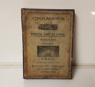 Antique Photographic Camera Photo Dry Plates G Cramer Dry Plate Film Box only