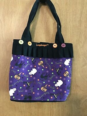 Longaberger Purse Tote Halloween Party Black Canvas new