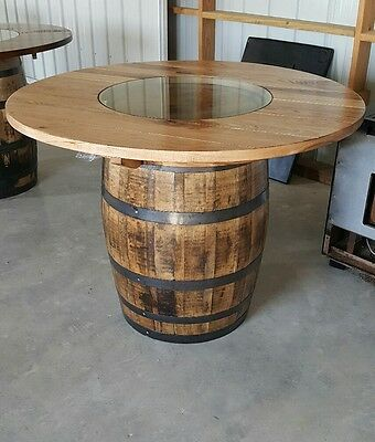 """Whiskey Barrel Table Authentic Charred Barrel,  48"""" Top"""