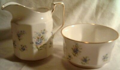 Queen's Forget-me-not China Cream and Sugar Bowl, Countryside Series