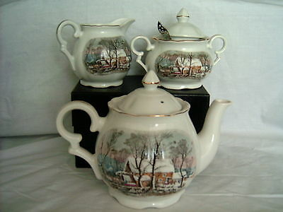Currier & Ives Tea China Set - 4 pc (teapot-creamer-sugar bowl-dinner bell)
