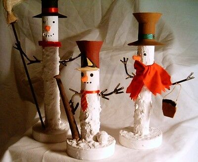 Trio Snowmen Tapered Tin Candle Holders - 3 in set