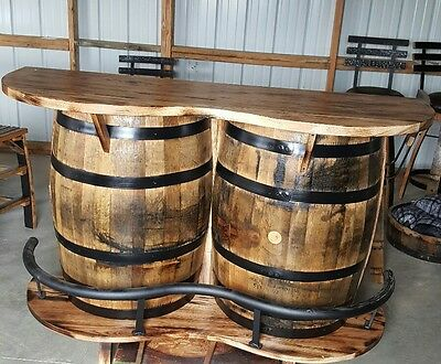 New Authentic Whiskey Barrel Bar, Hickory Top And Metal Footrest