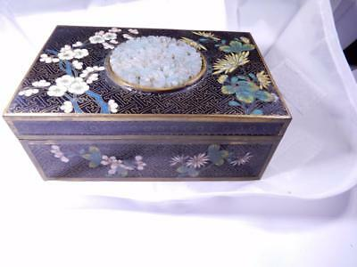 Antique  Chinese Cloisonne Box with Jade  Medallion top