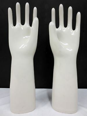 "Vintage Industrial Porcelain Glove Molds made in England 18"" Tall, Signed AHG"