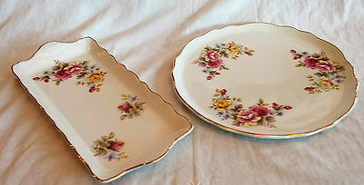 Vintage James Kent Old Foley Cake Plate & Sandwich Tray~ Roses With Gold Trim