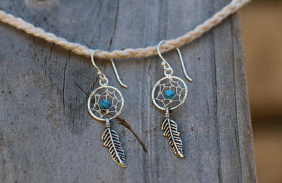 Dream Catcher Drop Earrings 925 Sterling Silver BRAND NEW w/ Turquoise Beads
