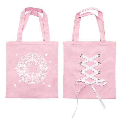 Card Captor Sakura KINOMOTO SAKURA Cute Pink Straps Canvas Shopping Shoulder Bag
