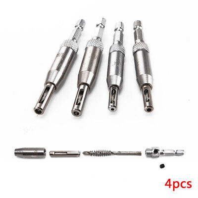4Pcs Self Centering Hinge Drill Bits Door Cabinet Pilot Holes HSS Hex Recess Set