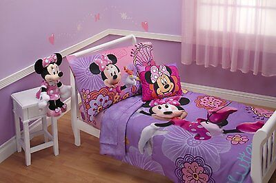 Disney Minnie Mouse Junior Cot Bed 4pc Comforter Sheet Set Baby Toddler Quilt