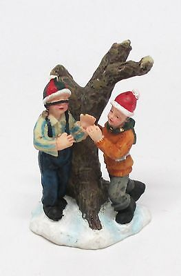 Two Boys Playing Blind Man's Bluff - Small Christmas Figurine