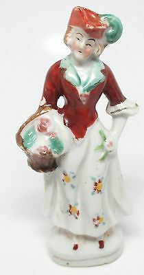 Vintage Colonial Woman Lady with Basket of Flowers Figurine - Occupied Japan