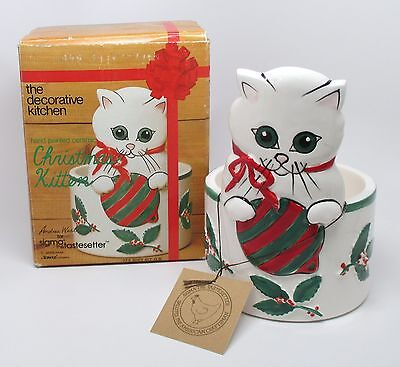 Sigma - Andrea West - Christmas Kitten Holder w/Box - White Cat Holly Ornament