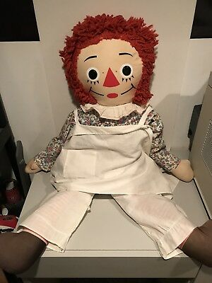 "Vintage 1970's Raggedy Ann Doll LARGE 35"" Tall by Knickerbocker EXTREMELY RARE!"