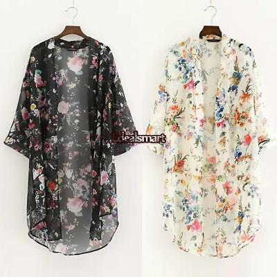 Women Boho Long Loose Flowy Shawl Kimono Duster Cardigan Cover Up Top Blouse US