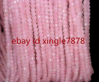 "Natural Pretty 4mm Rose Quartz Gemstone Pink Faceted Round Loose Beads 15"" AAA"