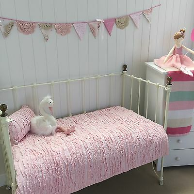 2 pce Pink Frill Lulu Shabby Chic Cot Quilt & Cushion Nursery Crib Bedding Set