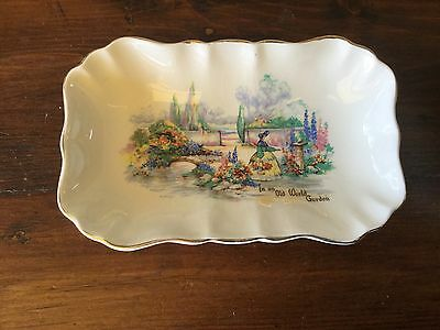 Vintage L&s English Crinoline Lady In An Old World Garden Small Dish
