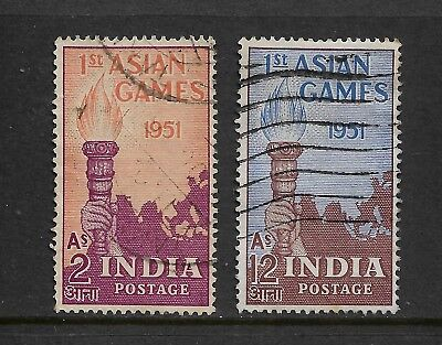 INDIA - 1951 First Asian Games, No.3, set of 2, used