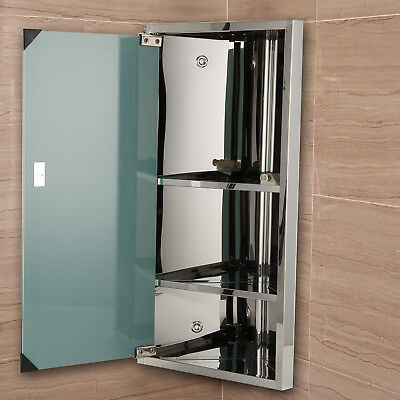 Bathroom Corner Cabinet Stainless Steel Mirror B1CR 600*300mm UK Stock