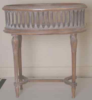 Jardiniere planter oval wood galleried antique 19th Century 70x40x76cm, replica