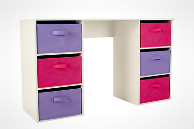 Girls Bedroom Homework Table Child Room Laptop PC Desk with Drawers Pink Purple