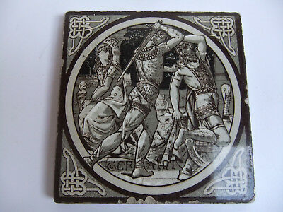 ANTIQUE MINTON TILE JOHN MOYR SMITH c1876 GERAINT. IDYLLS OF THE KING Series