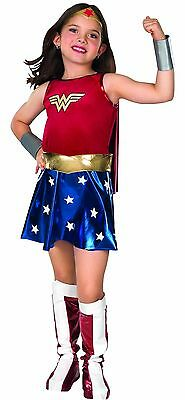 WONDER WOMAN Girls Deluxe Costume w/ Cape Kids Child Youth Size S,M,L