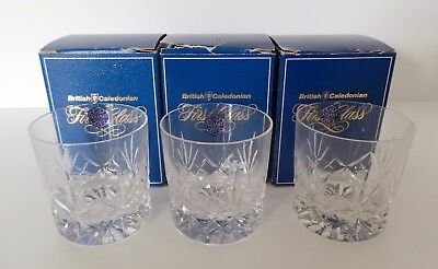 Collection Of Three Stuart Crystal British Caledonian Airways Tumblers - Boxed