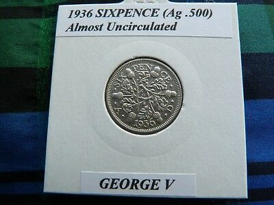 ALMOST UNCIRCULATED? 1936 SIXPENCE (Silver .500)  George V