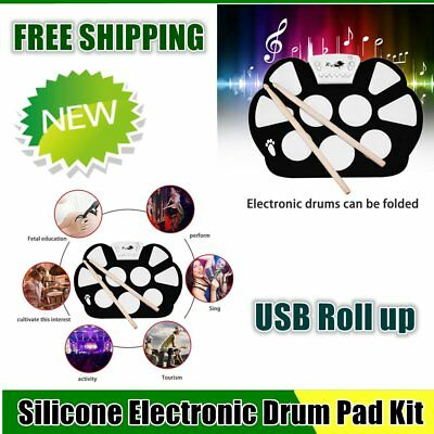 W758S Portable 9 Pads Digital USB Roll up Silicone Electronic Drum Pad Kit BTF