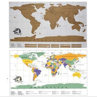 New Scratch Off Amazing Educational Personalized World Map Poster AU