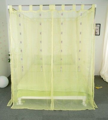 Queen Green Yarn Mosquito Net Bedding Four-Post Bed Canopy Curtain Netting#