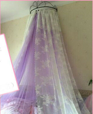 Queen Size Purple Lace Ceiling Mosquito Net Bedding Bed Curtain Netting Canopy#