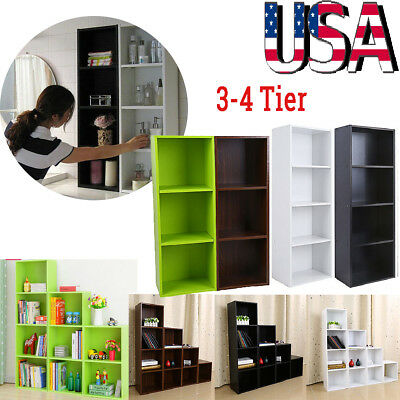 3/4 Shelf Wood Bookcase Storage Shelving Book Wide Bookshelf Furniture Display