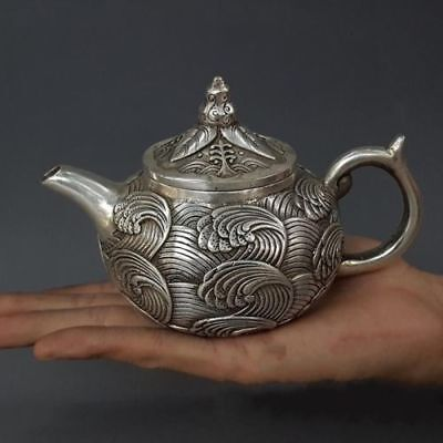 Marked china Qianlong Exquisite Silver Handwork Carved Sea Wave Flower teaPot