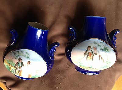Pair Of Small Blue Vases Classic Style