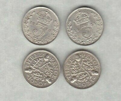 1918/1921 & 1931 Silver Three Pence Coins In Extremely Fine Or Better Condition