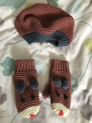 Girls Super Cute Animal Hat And Mits Mini Boden Age 7-10 Approx