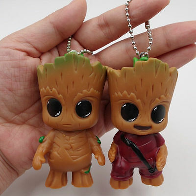2PC Guardian of the Galaxy Vol.2 Baby Groot Key Chain Figure Statue Gift Keyring
