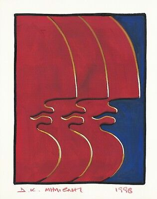 "Dimitris C. Milionis ""WE ARE THREE"" Signed Study Painting Paper Greek 1998 j"