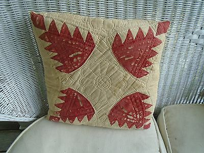 Antique VTG Quilt Block Pillow Red Bear Claw Pattern*hand quilted from cutter