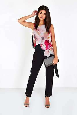 New Wallis Floral Print Layered Black Petite Jumpsuit Size 8 10 12 14 16 18