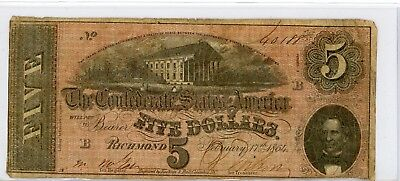 Confederate States of America 5 Five Dollar Banknote 1864 #0188