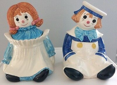 Metlox by Poppytrail Raggedy Ann and Andy Cookie Jar Set
