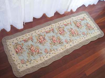 Shabby Rose Flower Trail Patch Cotton Quilted Mat Rug Floor Runner New L